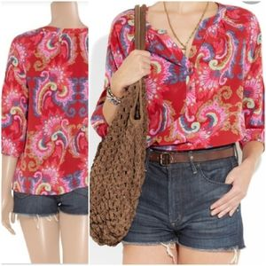 Tibi Isabella 100% silk paisley red top 2